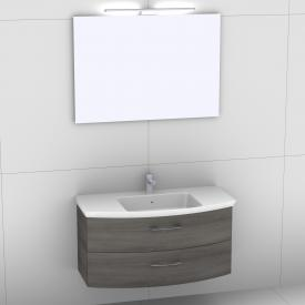 Artiqua 818 Block washbasin with vanity unit with 2 pull-out compartments and mirror with LED lighting front textured graphite/mirrored / corpus textured graphite