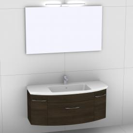 Artiqua 818 Block washbasin with vanity unit with 1 pull-out compartment and 2 doors and mirror with LED lighting front textured mocha/mirrored  / corpus textured mocha