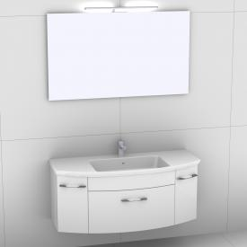 Artiqua 818 Block washbasin with vanity unit with 1 pull-out compartment and 2 doors and mirror with LED lighting front white high gloss/mirrored / corpus white gloss