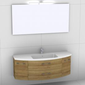 Artiqua 818 Block washbasin with vanity unit with 2 pull-out compartments and 2 doors and mirror with LED lighting front riviera oak/mirrored / corpus riviera oak