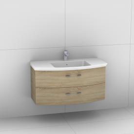 Artiqua 818 Block washbasin with vanity unit with 2 pull-out compartments front castello oak / corpus castello oak