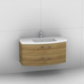 Artiqua 818 Block washbasin with vanity unit with 2 pull-out compartments front riviera oak / corpus riviera oak