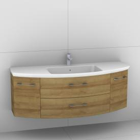 Artiqua 818 Block washbasin with vanity unit with 2 pull-out compartments and 2 doors front riviera oak / corpus riviera oak