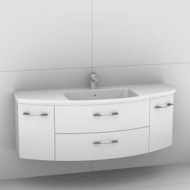 Artiqua 818 Block washbasin with vanity unit with 2 pull-out compartments and 2 doors front white high gloss / corpus white gloss