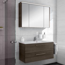 Artiqua 890 Block wasbasin with vanity unit and LED mirror cabinet W: 100 cm front textured mocha/mirrored / corpus textured mocha