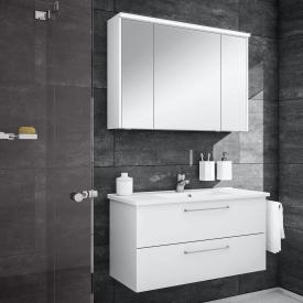 Artiqua 890 Block wasbasin with vanity unit and LED mirror cabinet front white gloss/mirrored, corpus white gloss