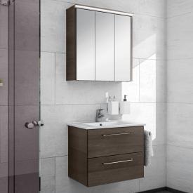 Artiqua 890 Block wasbasin with vanity unit and LED mirror cabinet W: 65 cm front textured mocha/mirrored / corpus textured mocha