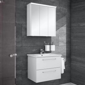 Artiqua 890 Block wasbasin with vanity unit and LED mirror cabinet W: 65 cm front white gloss/mirrored, corpus white gloss