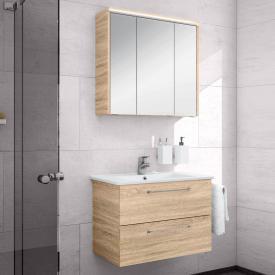Artiqua 890 Block wasbasin with vanity unit and LED mirror cabinet W: 75 cm front castello oak/mirrored / corpus castello oak