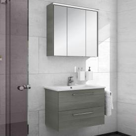 Artiqua 890 Block wasbasin with vanity unit and LED mirror cabinet W: 75 cm front textured graphite/mirrored / corpus textured graphite