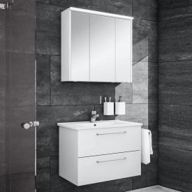 Artiqua 890 Block wasbasin with vanity unit and LED mirror cabinet W: 75 cm front white gloss/mirrored, corpus white gloss