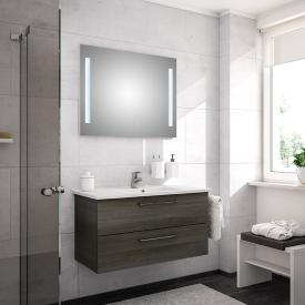 Artiqua 890 Block wasbasin with vanity unit and LED mirror W: 100 cm front textured graphite/mirrored / corpus textured graphite
