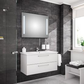 Artiqua 890 Block wasbasin with vanity unit and LED mirror front white gloss/mirrored, corpus white gloss