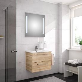 Artiqua 890 Block wasbasin with vanity unit and LED mirror W: 65 cm front castello oak/mirrored / corpus castello oak