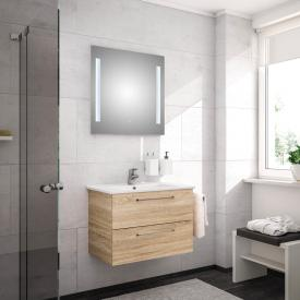 Artiqua 890 Block wasbasin with vanity unit and LED mirror W: 75 cm front castello oak/mirrored / corpus castello oak