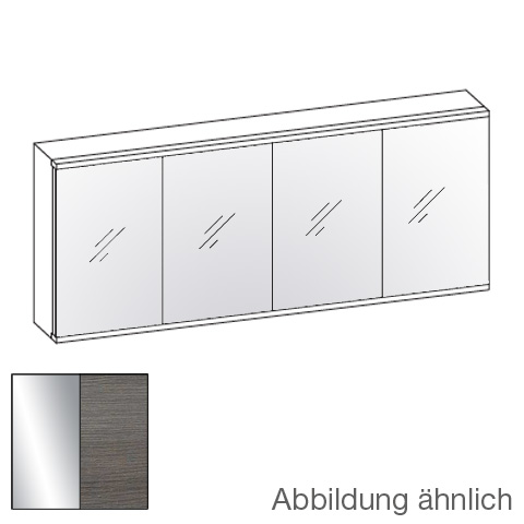 Artiqua 112 LED mirror cabinet with 4 doors front mirrored / corpus textured graphite