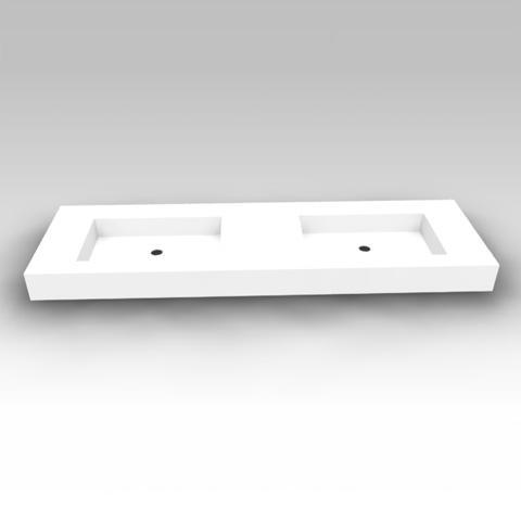 Artiqua Dimension 112 mineral marble double washbasin without tap hole, without overflow