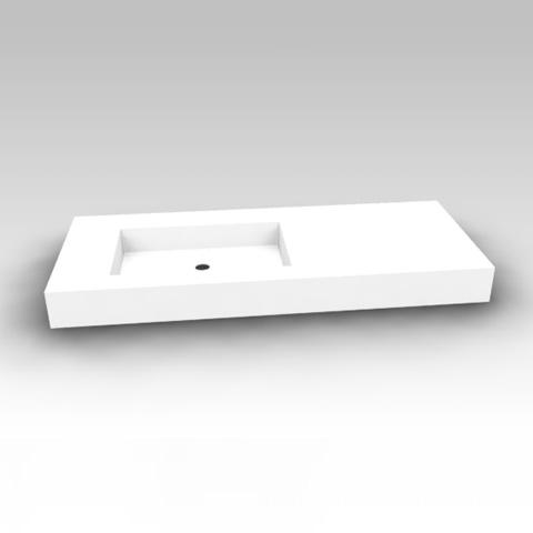 Artiqua Dimension 112 mineral marble washbasin without tap hole, without overflow