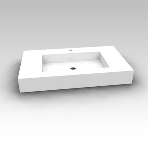 Artiqua 112 mineral marble washbasin with 1 tap hole, with overflow