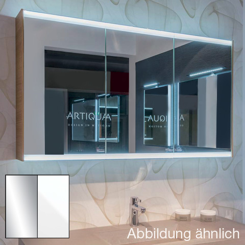 Artiqua 400 LED mirror cabinet with 3 doors front mirrored / corpus white gloss