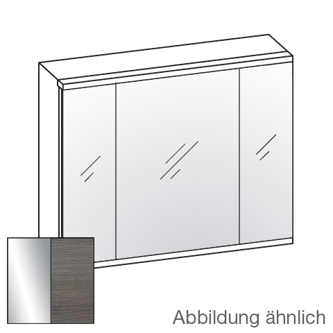 Artiqua 400 LED mirror cabinet with 3 doors front mirrored / corpus textured graphite