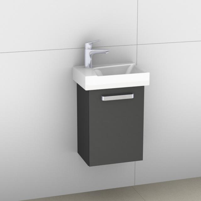 Artiqua 413 vanity unit for hand washbasin with 1 door front anthracite high gloss / corpus anthracite gloss