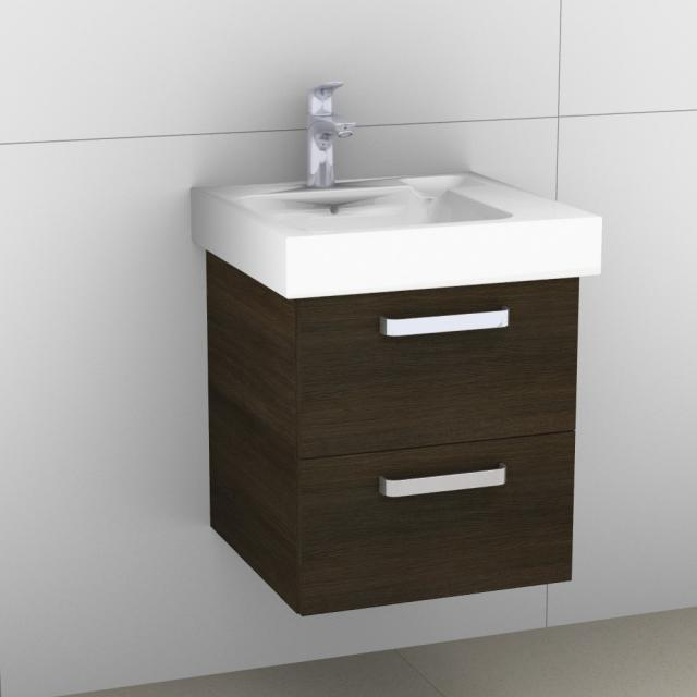 Artiqua 413 vanity unit with 2 pull-out compartments front textured mocha / corpus textured mocha