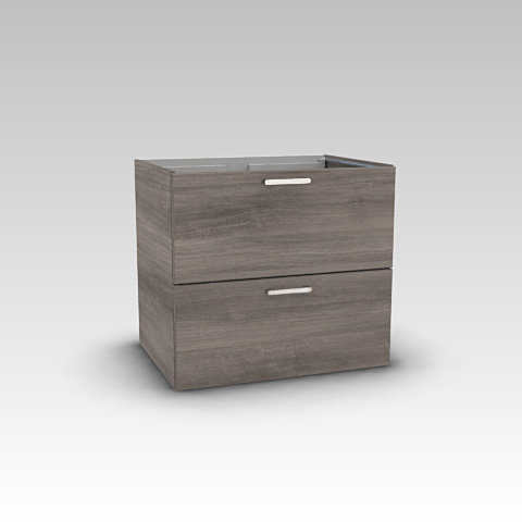 Artiqua 415 vanity unit with 2 pull-out compartments front textured graphite / corpus textured graphite