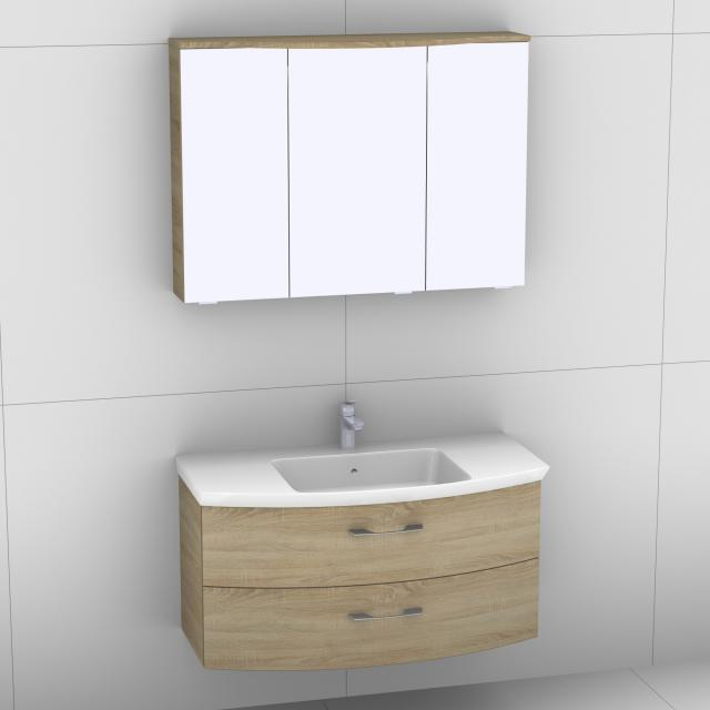 Artiqua 818 Block washbasin with vanity unit with 2 pull-out compartments and LED mirror cabinet front castello oak/mirrored / corpus castello oak