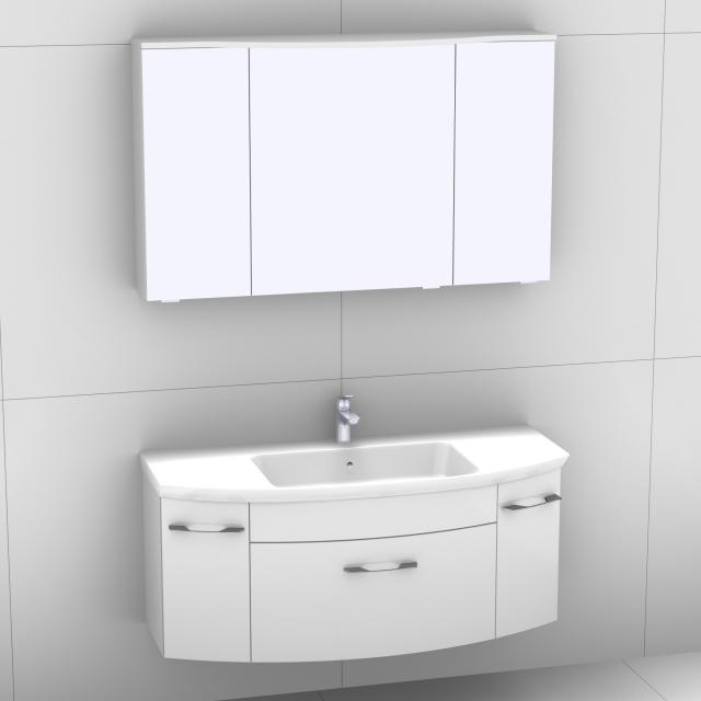 Artiqua 818 Block washbasin with vanity unit with 1 pull-out compartment and 2 doors and LED mirror cabinet front white high gloss/mirrored / corpus white gloss