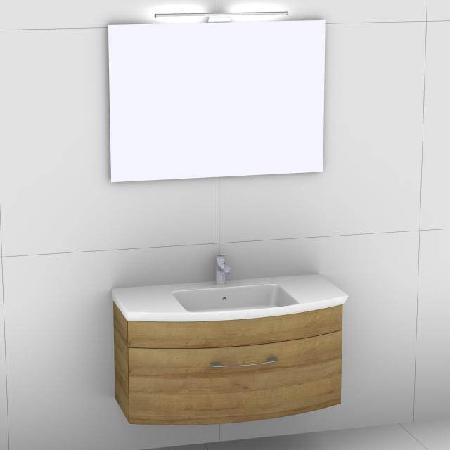 Artiqua 818 Block washbasin with vanity unit with 1 pull-out compartment and mirror with LED lighting front riviera oak/mirrored / corpus riviera oak
