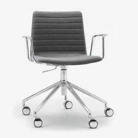 Andreu World Flex High Back chair with castors and armrests, fabric