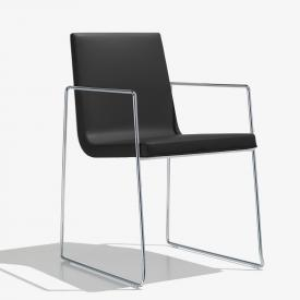 Andreu World Lineal Comfort chair with armrests, real leather