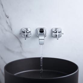 AXOR Citterio E concealed, wall-mounted three hole basin mixer with escutcheons projection: 220 mm, chrome