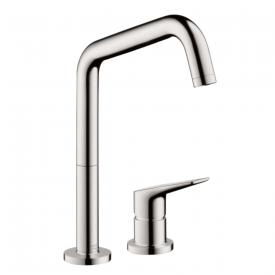 """AXOR Citterio M two hole, single lever kitchen mixer, 1/2"""" stainless steel look"""