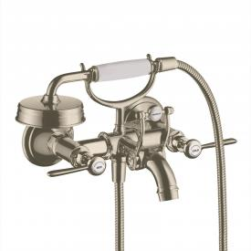 AXOR Montreux exposed two handle bath fitting with levers brushed nickel