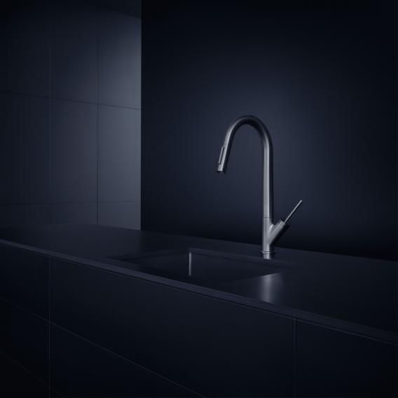 AXOR Starck single lever kitchen mixer with pull-out spray stainless steel look