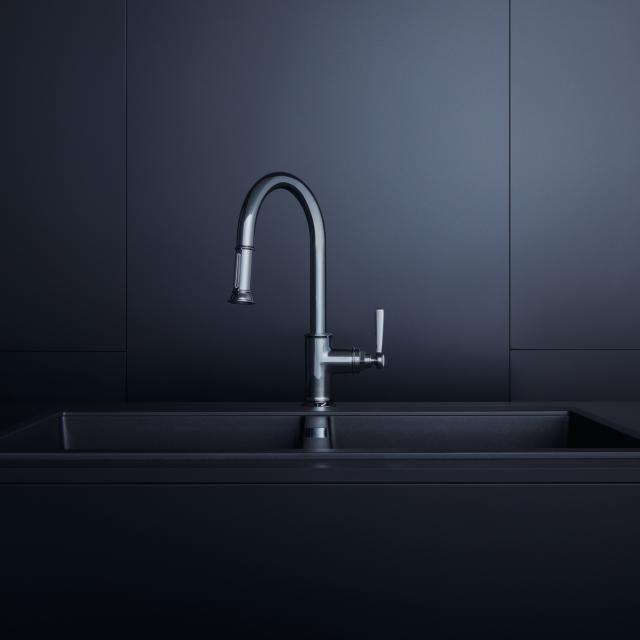 AXOR Montreux single lever kitchen fitting 180 with pull-out spray chrome