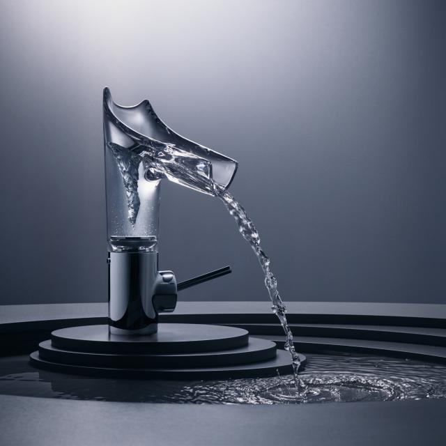 AXOR Starck V single lever basin mixer 140 with glass spout chrome