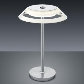 BANKAMP CALLAS LED table lamp with dimmer Ø 22 H: 38 cm, matt nickel/chrome/white/clear
