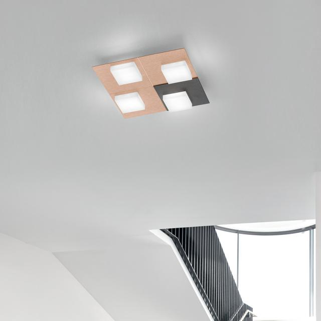BANKAMP CUBE LED ceiling light / wall light 4 heads with dimmer, square