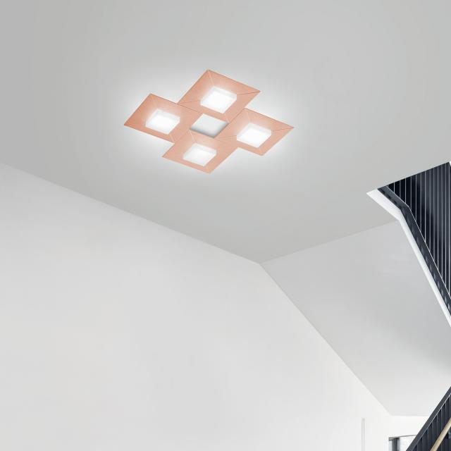 BANKAMP DIAMOND LED ceiling light / wall light 4 heads with dimmer, square