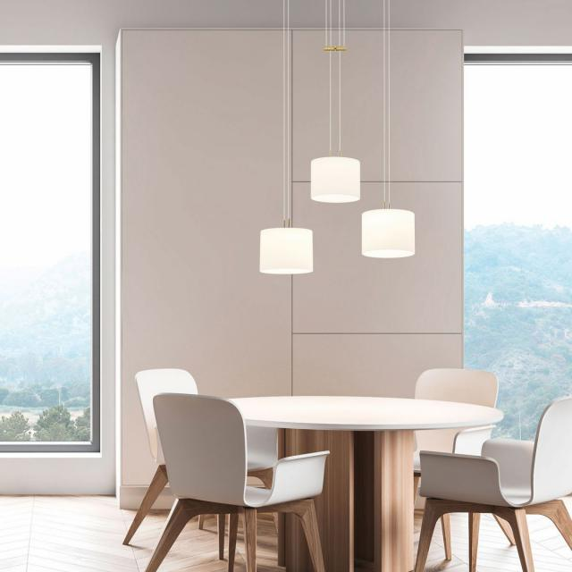 BANKAMP GRAZIA LED pendant light with Vertical Dimm, 3 heads, round