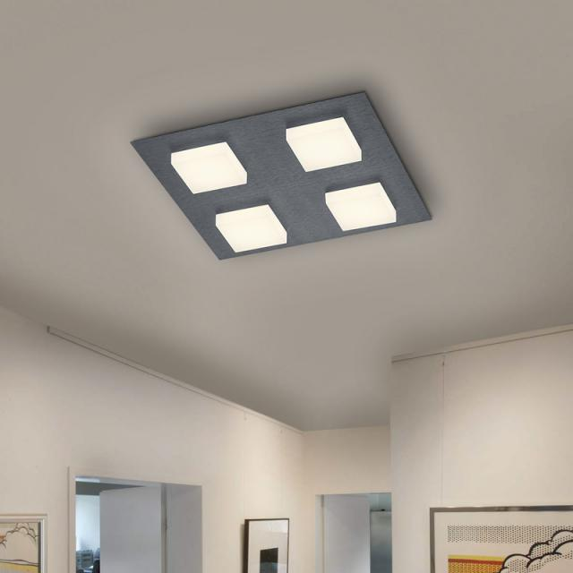 BANKAMP LUNO LED ceiling light with dimmer, 4 heads