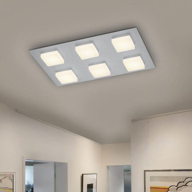 BANKAMP LUNO LED ceiling light with dimmer, 6 heads