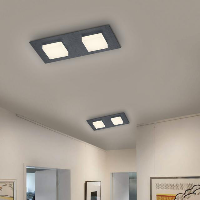BANKAMP LUNO LED ceiling light with dimmer, 2 heads