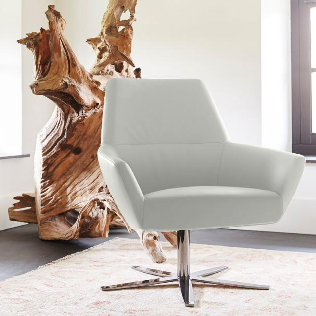 bert plantagie Zyba armchair with swivel base, real leather