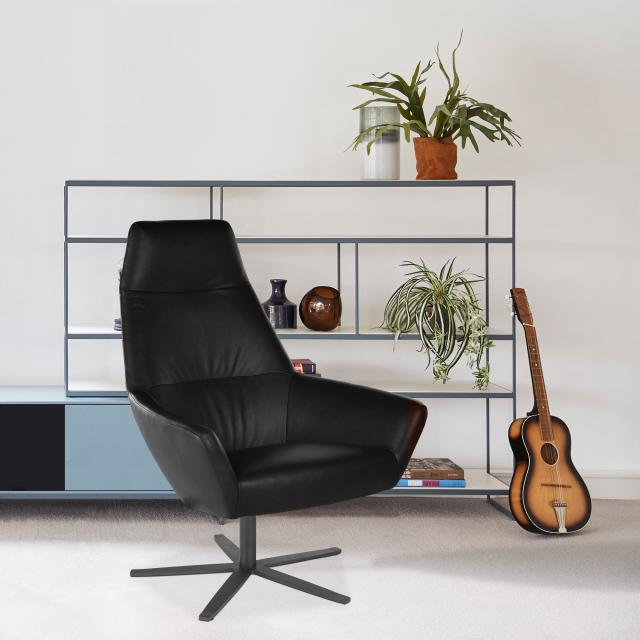 bert plantagie Zyba high armchair with swivel base, real leather