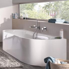 Bette Lux Oval I Silhouette back-to-wall bath white bath, with BetteGlaze Plus, chrome waste set, with water inlet