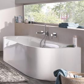 Bette Lux Oval I Silhouette Baignoire murale avec tablier baignoire blanche, avec revêtement BetteGlasur Plus, garniture de vidage chromée, avec alimentation d'eau intégrée